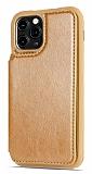 Dafoni Retro iPhone 11 Pro Cüzdanlı Kahverengi Rubber Kılıf