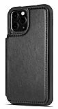 Dafoni Retro iPhone 12 / 12 Pro 6.1 inç Cüzdanlı Siyah Rubber Kılıf