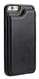 Dafoni Retro iPhone 6 / 6S Cüzdanlı Siyah Rubber Kılıf