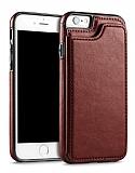 Dafoni Retro iPhone 6 Plus / 6S Plus Cüzdanlı Kahverengi Rubber Kılıf