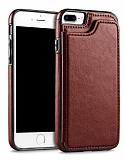 Dafoni Retro iPhone 7 Plus / 8 Plus Cüzdanlı Kahverengi Rubber Kılıf