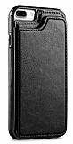Dafoni Retro iPhone 7 Plus / 8 Plus Cüzdanlı Siyah Rubber Kılıf