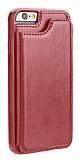 Dafoni Retro iPhone SE 2020 Cüzdanlı Kırmızı Rubber Kılıf