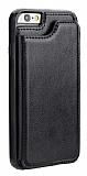 Dafoni Retro iPhone SE 2020 Cüzdanlı Siyah Rubber Kılıf