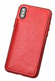 Dafoni Retro iPhone X / XS Cüzdanlı Kırmızı Rubber Kılıf