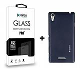 Dafoni Sony Xperia T3 Dark Silver Kılıf ve Eiroo Cam Ekran Koruyucu Seti