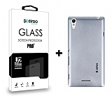 Dafoni Sony Xperia T3 Silver Kılıf ve Eiroo Cam Ekran Koruyucu Seti