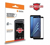 Dafoni Samsung Galaxy A8 2018 Full Slim Triple Shield Siyah Ekran Koruyucu