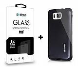 Dafoni Samsung Galaxy Alpha Siyah Kılıf ve Eiroo Cam Ekran Koruyucu Seti