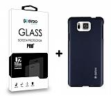 Dafoni Samsung Galaxy Alpha Dark Silver K�l�f ve Eiroo Cam Ekran Koruyucu Seti