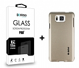 Dafoni Samsung Galaxy Alpha Gold Kılıf ve Eiroo Cam Ekran Koruyucu Seti