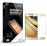 Dafoni Samsung Galaxy C5 Pro Tempered Glass Premium Full Gold Cam Ekran Koruyucu
