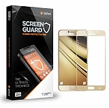 Dafoni Samsung Galaxy C7 Pro Curve Tempered Glass Premium Full Gold Cam Ekran Koruyucu