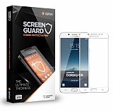 Dafoni Samsung Galaxy C8 Tempered Glass Premium Full Beyaz Cam Ekran Koruyucu