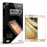 Dafoni Samsung Galaxy C9 Pro Curve Tempered Glass Premium Gold Full Cam Ekran Koruyucu