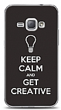 Samsung Galaxy J1 2016 Keep Calm And Get Creative Mor Gri Kılıf