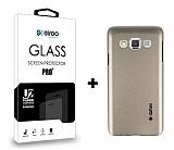Dafoni Samsung Galaxy A3 Gold Kılıf ve Eiroo Cam Ekran Koruyucu Seti