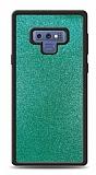 Dafoni Samsung Galaxy Note 9 Silikon Kenarlı Simli Turkuaz Kılıf