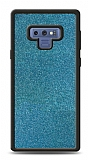 Dafoni Samsung Galaxy Note 9 Silikon Kenarlı Simli Mavi Kılıf
