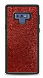 Dafoni Samsung Galaxy Note 9 Silikon Kenarlı Simli Kırmızı Kılıf