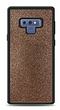 Dafoni Samsung Galaxy Note 9 Silikon Kenarlı Simli Kahverengi Kılıf