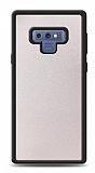 Dafoni Samsung Galaxy Note 9 Silikon Kenarlı Simli Beyaz Kılıf