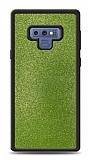 Dafoni Samsung Galaxy Note 9 Silikon Kenarlı Simli Yeşil Kılıf