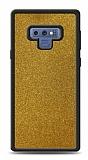 Dafoni Samsung Galaxy Note 9 Silikon Kenarlı Simli Gold Kılıf