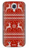 Dafoni Samsung i9500 Galaxy S4 Sweater Deer K�rm�z� Rubber K�l�f