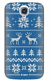 Dafoni Samsung i9500 Galaxy S4 Sweater Deer Mavi Rubber K�l�f