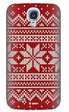 Dafoni Samsung i9500 Galaxy S4 Sweater Snow K�rm�z� Rubber K�l�f