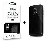 Dafoni Samsung Galaxy S5 mini Siyah Kılıf ve Eiroo Cam Ekran Koruyucu Seti