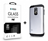Dafoni Samsung Galaxy S5 mini Silver Kılıf ve Eiroo Cam Ekran Koruyucu Seti