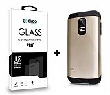 Dafoni Samsung Galaxy S5 mini Gold Kılıf ve Eiroo Cam Ekran Koruyucu Seti