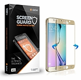 Dafoni Samsung Galaxy S6 Edge Curve Tempered Glass Premium Gold Cam Ekran Koruyucu