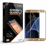 Dafoni Samsung Galaxy S7 Edge Curve Tempered Glass Premium Gold Cam Ekran Koruyucu