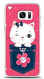 Samsung Galaxy S7 Edge Pink Cat Kılıf