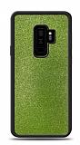 Dafoni Samsung Galaxy S9 Plus Silikon Kenarlı Simli Yeşil Kılıf