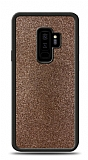 Dafoni Samsung Galaxy S9 Plus Silikon Kenarlı Simli Kahverengi Kılıf