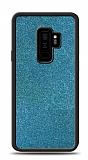 Dafoni Samsung Galaxy S9 Plus Silikon Kenarlı Simli Mavi Kılıf