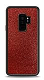 Dafoni Samsung Galaxy S9 Plus Silikon Kenarlı Simli Kırmızı Kılıf