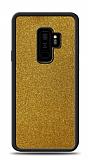 Dafoni Samsung Galaxy S9 Plus Silikon Kenarlı Simli Gold Kılıf