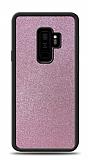 Dafoni Samsung Galaxy S9 Plus Silikon Kenarlı Simli Pembe Kılıf