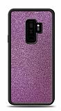 Dafoni Samsung Galaxy S9 Plus Silikon Kenarlı Simli Mor Kılıf
