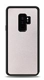 Dafoni Samsung Galaxy S9 Plus Silikon Kenarlı Simli Beyaz Kılıf