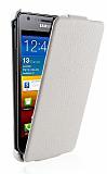 Eiroo Samsung i9100 Galaxy S2 Kapakl� L�x Beyaz Deri K�l�f