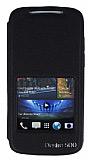 Eiroo HTC Desire 500 Vantuzlu Pencereli Siyah Deri K�l�f