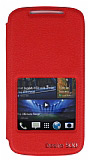 Eiroo HTC Desire 500 Vantuzlu Pencereli K�rm�z� Deri K�l�f