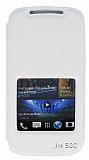 Eiroo HTC Desire 500 Vantuzlu Pencereli Beyaz Deri Kılıf