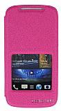 Eiroo HTC Desire 500 Vantuzlu Pencereli Pembe Deri K�l�f
